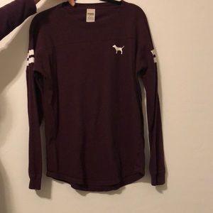 VS Pink maroon long sleeve shirt